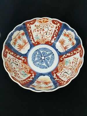 Antique Large Hand Painted Sansai Japanese Porcelain Imari Bowl Scalloped Edge