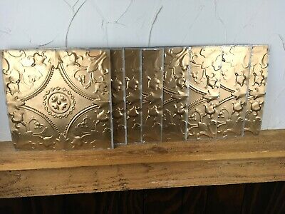Lot Of 8 Bronze Salvaged Reclaimed Tin Metal Ceiling Tiles Farmhouse 12x12