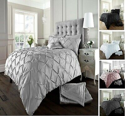 100% Egyptian Cotton 200TC Pintuck Duvet Cover with Pillowcase Bedding Set