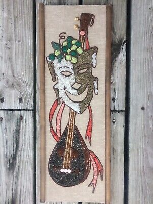 VTG Mid Century Modern Wall Art Comedy Tragedy Crushed Gravel Mosaic Wood  MCM