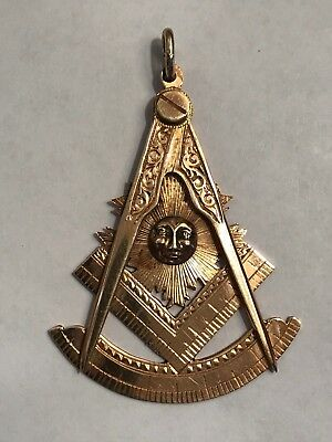 Vintage 14K Gold Masonic Republican Lodge A.f. & A.m. Large Pendant ~1956 - 57