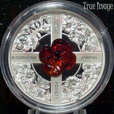 2019 - Lest We Forget - Venetian Murano Glass Poppy $20 Pure Silver Coin Canada
