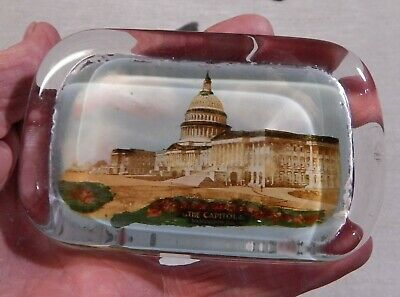 Antique Photograph Glass Paperweight  Pyro Art  New York   U.S. Capitol