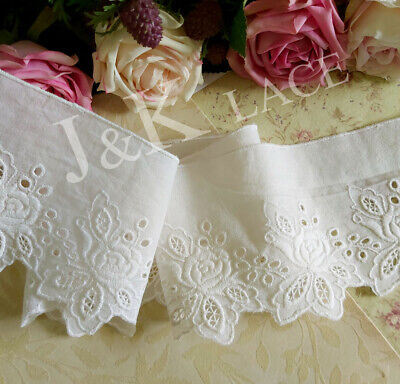 8.5 cm width Pretty Milky White Cotton Embroidery Lace Trim
