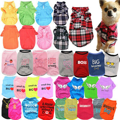 Pet Cat Dog Clothes for Puppy Chihuahua Summer Dog Vest Plaid Shirts T shirts H