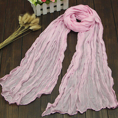 Colorful Women s Warm Wrinkle Long Crinkle Scarf Shawl Candy 9 Colors Modish
