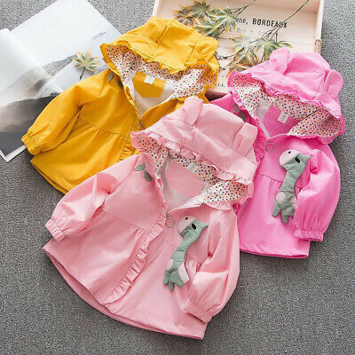Toddler Baby Kids Girls Ear Cartoon Hooded Windproof Coat Outwear Casual Clothes