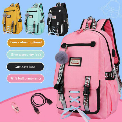 Large School Bags For Teenage Girls USB with Lock Anti Theft Backpack Travel