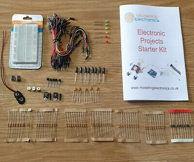 Basic Electronics starter kit, breadboard, Booklet, Resistors, cables, LEDs