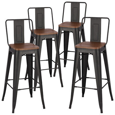 2/4X Industrial Retro Metal Bar Stool Kitchen Pub Counter Wooden Seat Backrest