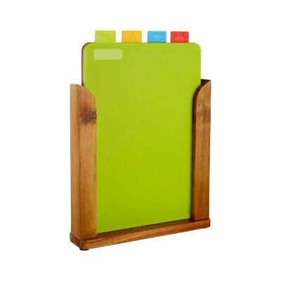 Premier Housewares Chopping Boards with Wooden Stand - Set of 4
