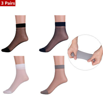3 Pairs Mens Thin Short Stockings Socks Breathable Absorb Sweat Silk Summer Soft