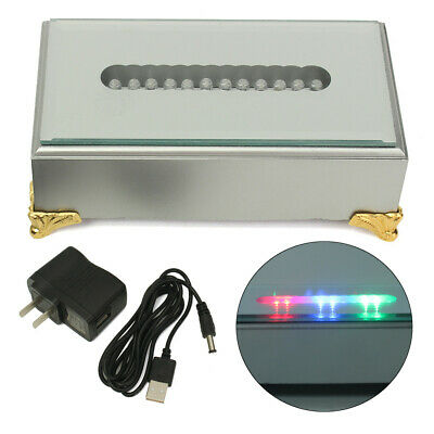 12 LED White/Colorful Light Stand Base Crystal Glass Display Battery USB Adapter