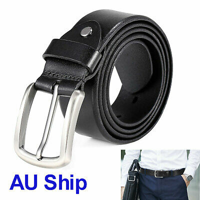 Authentic Men's Dress Pin Casual Waist Strap Belt Buckle Leather Waistband Belts