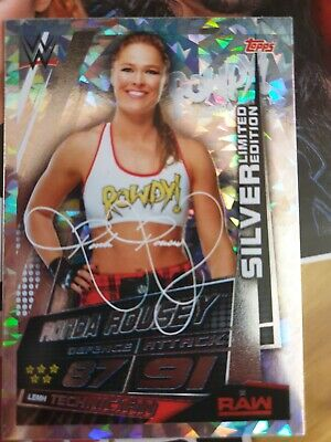 WWE Slam Attax Universe Ronda Rousey Silver Limited Edition Card Topps