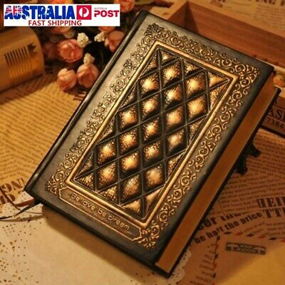 Vintage Embossed Plaid PU Leather Travel Journal Retro Notebook Diary Gift AU