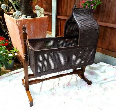 Antique Victorian Bergere Cane Rocking Baby Crib/Cradle - Wood & Cane