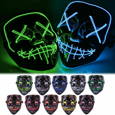 Halloween LED Glow Mask 3 Modes EL Wire Light Up, The Purge Movie Costume Party