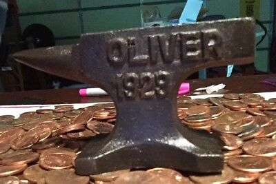 Oliver Tractor Anvil Heavy Iron Collector PaperWeight Antique Style Farm Toy Ex
