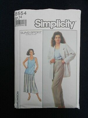 """Vintage sewing pattern. SIMPLICITY 8554. JACKET, TOP, SKIRT, TROUSERS. Bust 36"""""""
