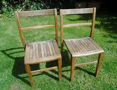 Pair of Original Vintage Wooden School Stacking Chairs. Wirral Collection.