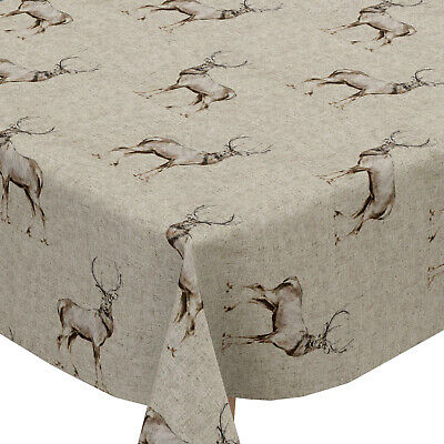 Fryetts Otter Natural Cotton Oilcloth WIPE CLEAN PVC TABLECLOTH