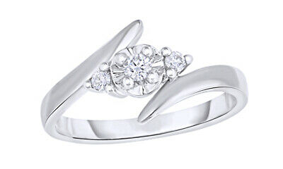 1/8 Ct Round Cut Real Diamond 3-Stone Bypass Engagement Ring In 10K White Gold