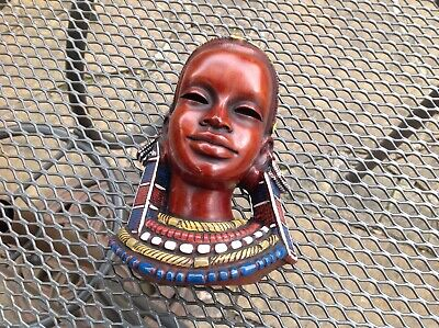 Vintage Art Deco West German  Achatit African Woman Face Wall Mask