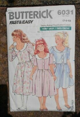 Vintage 1980s sewing pattern. BUTTERICK 6031. GIRLS' DRESS. Age 8 yrs.