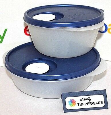 Tupperware CrystalWave Set of 2 Containers Medium Round and Divided Indigo Blue
