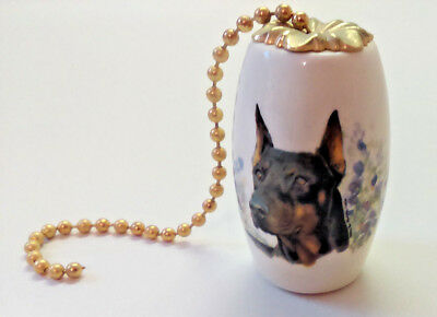 "Black Doberman Pinscher Cropped Ears Ceiling Fan Pull Ceramic 2"" Dog Chain"