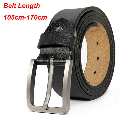 "Mens Belt Genuine Leather Belts For Dress & Jeans Big & Tall Wasit Size 28""-64"""