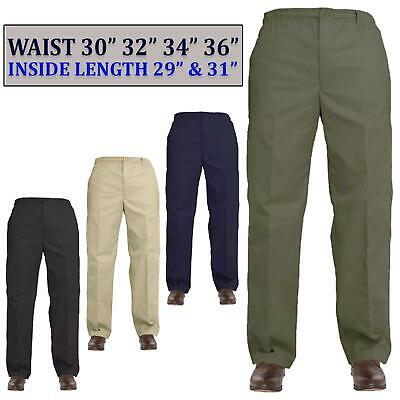 Mens Elasticated Waist Cargo Combat Work Casual Rugby Trouser Bottoms Pant 36-40