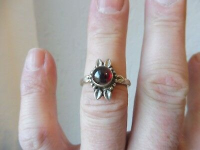 Beautiful, Old Ring __925 Silver __ with Red Stone ___