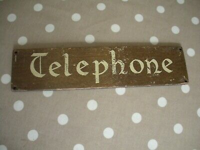 Vintage Telephone Sign. Handpainted on Wood. Hotel/Office/Shop etc.