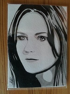 Spiderman Mary Jane (Kirsten Dunst) Watercolour Aceo Sketch Card Psc