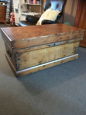 Old ANTIQUE PINE CHEST, Wooden Blanket TRUNK, Coffee TABLE, Storage Box