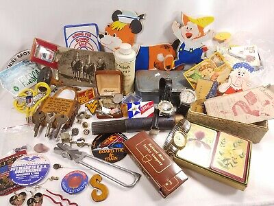 junk drawer lot odds ends jewelry pins sticker knick knacks watches matches keys