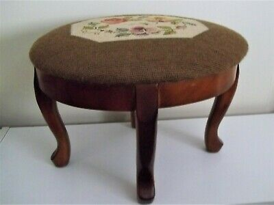 Antique, Needlepoint Oval Wood Foot Stool.