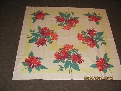 """Vintage 1950's Cotton Tablecloth 52"""" X 48"""" Red Floral Print"""