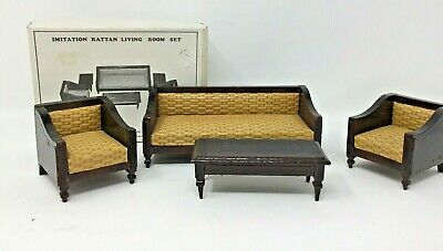 Vintage Wooden Dollhouse Furniture Rattan Couch Chairs Mid Century Style