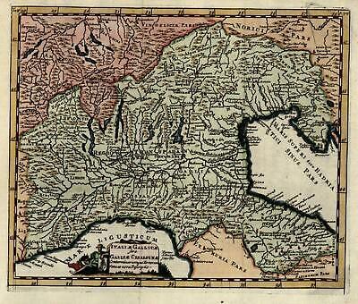 Northern Italy Italia Gallicae Alpine 1711 Cluverius engraved map hand color