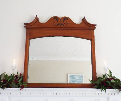 Antique carved Art Nouveau satinwood mahogany Edwardian Mirror Hall Overmantle