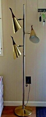 Mid Century Modern Pole Floor Lamp Vintage eames Retro Teak Finials brass chrome