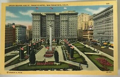 Vintage Postcard 1945 Union Square St. Francis Hotel San Francisco California