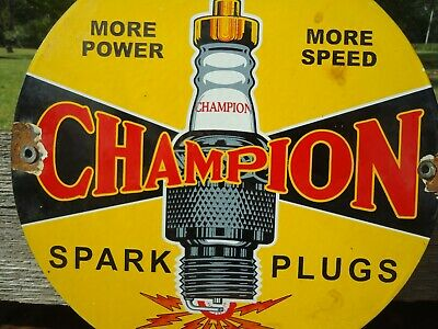 Old Vintage 19657 Champion Spark Plug Porcelain Gas Pump Sign