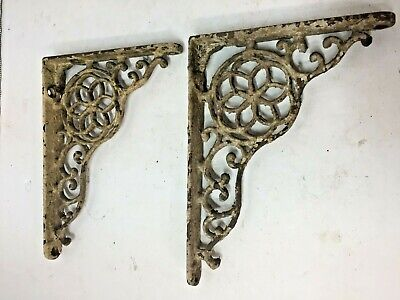 Vintage Cast Wrought Iron OLD Shelf Brackets Pair Chippy Paint Patina Display