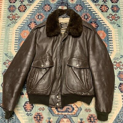 Vintage Cooper Genuine Leather Jacket Sherpa Lined Faux Fur Collar USA Size 44