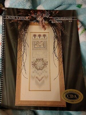 Vintage 1994 EMIE BISHOP Cross 'N Patch EMBELLISHMENTS Counted Cross Stitch BOOK