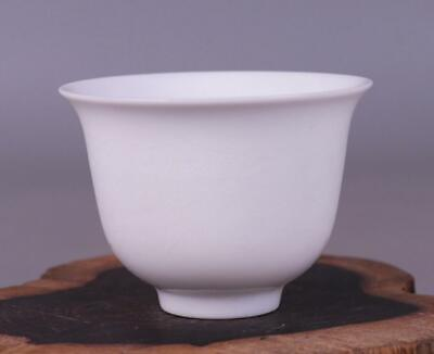 chinese old White glazed porcelain engraved dragon grain cup 08323